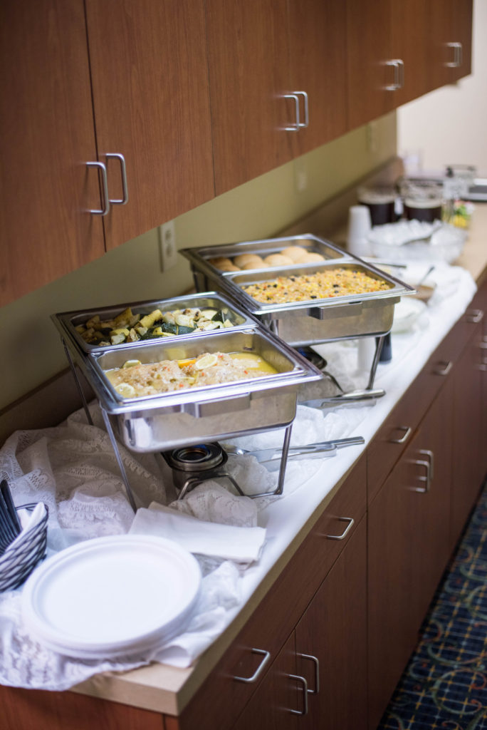 Our Board Room has access to a buffet for food.